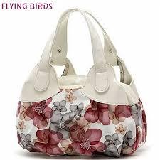 flying birds women leather handbags popular flower pattern women handbags shoulder bag las women s bags bolsas tote sh462