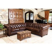 for abbyson living tuscan tufted top grain leather sectional sofa