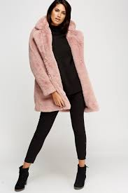 k zell dusty pink teddy bear faux fur coat limited edition designer stock