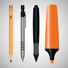 office drawing tools. Set Of Office Supplies For Drawing Tools Gradient Background Stock Photo - 46953296