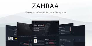 Zahra Personal Vcard And Resume Template