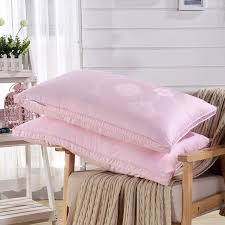 100 goose down pillows.  Pillows 750 Fill Power Pink Wedding Goose Down Pillows 100 Cotton Fabric Proof  Cover To 100