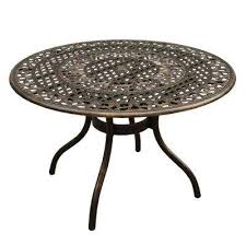 ornate traditional 48 in round aluminum outdoor dining table mesh lattice in bronze