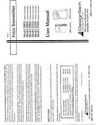Design Tech International Springfield Va Designtech Tx4 Automobile Security Systems Transmitter User