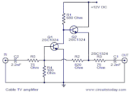 cable tv amplifier electronic circuits and diagram electronics circuit diagram cable tv amplifier