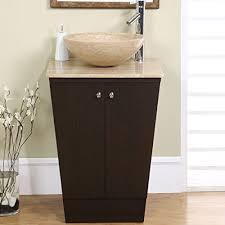 powder room furniture. Silkroad Exclusive Travertine Stone Single Sink Vessel Bathroom Vanity With Storage Cabinet, 22-Inch Powder Room Furniture T