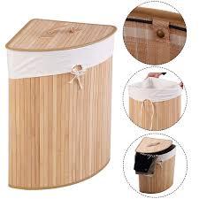 details about corner bamboo hamper laundry bathroom washing cloth bin basket storage bag w lid