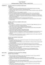 Sample Management Specialist Resume Talent Management Specialist Resume Samples Velvet Jobs