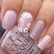 Pink Nail Art Design Flowers And Glitter Pink Nail Designs Nail Designs For You