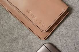 yours horizontal invisible magnetic buckle mobile phone holster wood color leather tailored designer oma design i
