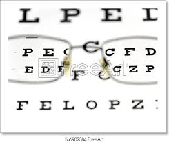 Blurry Eye Test Chart Free Art Print Of Eyeglasses And Eye Test Chart