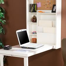 Wall Shelves With Desk White Wood Wall Mounted Foldable Computer Desk Design With
