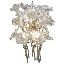 chandelier made of glass flowers for