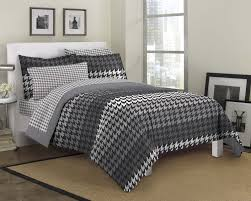 houndstooth bedding black white gray twin queen bed in a bag masculine teen boy comforter set