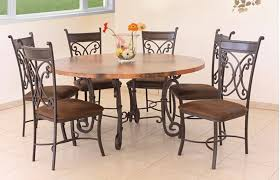 metal and wood kitchen chairs breathtaking rustic round copper table with base dining home ideas 5