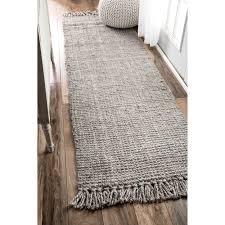 wanted nuloom runner rugs nuloom handmade eco natural fiber chunky loop jute grey rug