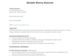 Example Nanny Resume Cover Letter Examples Of Resumes Sample Samples