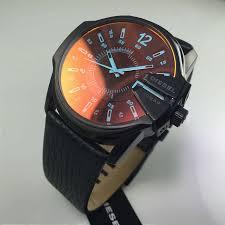men s black diesel mega chief iridescent dial watch dz1657