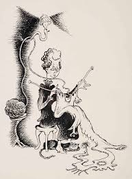 this pen and ink dr seuss drawing appears to have someone s granny knitting herself a
