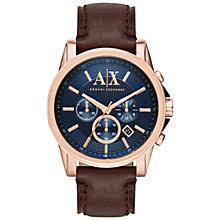 men s watches men s designer watches john lewis buy armani exchange men s chronograph date leather strap watch dark brown blue online at