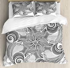 black and white king size duvet cover set ornate monochrome fl mandala design hand drawn swirls dots pattern decorative 3 piece bedding set with 2