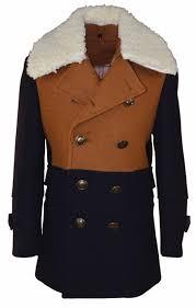 isaac mizrahi boy s two toned double ted removable fleece collar wool coat