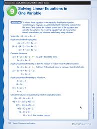 solving linear equations in one variable grade 8 common core coach math