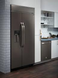 black appliance matte seamless kitchen:  sxs refrigerator image