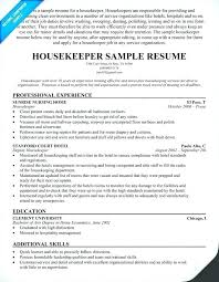 Housekeeping Description For Resume New Housekeeper Description