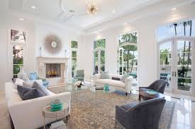 White Art Deco Living Room With Fireplace (Image 20 of 20)