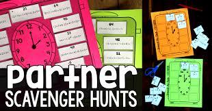 partner scavenger hunt activities in math class
