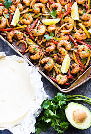 sheet pan shrimp fajitas sheet pan shrimp fajitas the blond cook