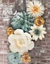 Paper Flower Designs Eucalyptus Gold Cream Large Paper Flower Wall Backdrop