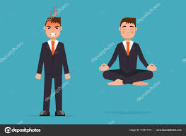 meditation businessman office. Office Worker Meditating, Sitting In Lotus Pose. Calm And Angry. Businessman Meditation Concept. Vector Illustration \u2014 By AnSim M