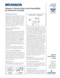 Characteristics Compatibility Of Thermoplastics For