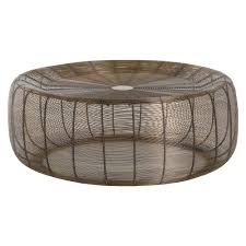 metal coffee table. Limited Production Design: Iron Wire Lobster Pot Coffee Table * Vintage Brass H: 15 Dia: 39 Inches Metal