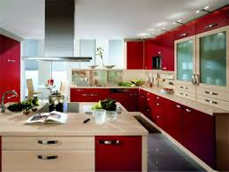 White And Red Kitchen Cool Red Kitchen Design With White Kitchen Floor And Black Wall