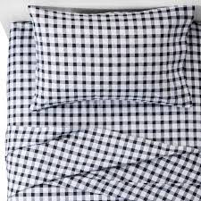 white buffalo check flannel sheet set