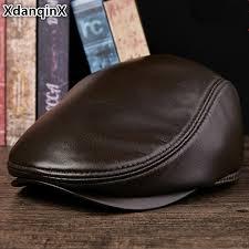 <b>XdanqinX</b> Unisex <b>Genuine Leather Hat</b> Sheepskin Warm Beret ...