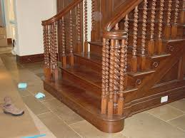 Decorations:Classic Spiral Wooden Steps Design With Black Wooden Railing  Also Carving Accents Exciting Thread