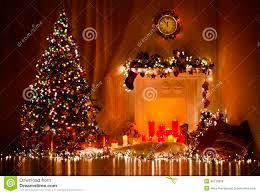 Xmas Living Room Christmas Tree Fireplace Lights Decorated Xmas Living Room Night