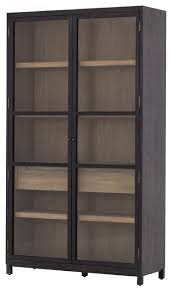 millie drifted black oak wood glass door display cabinet transitional china cabinets and hutches by zin home