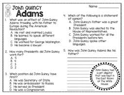 John Quincy Adams Presidency Chart John Quincy Adams Biography Timeline Graphic Organizers Text Based Questions