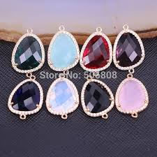 10pcs zyunz faceted cut stone connector beads gold frame micro pave cz crystal glass pendant