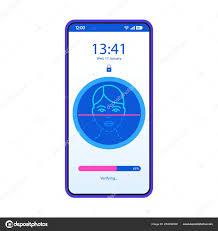 Face Design App Face Recognition App Smartphone Interface Vector Template