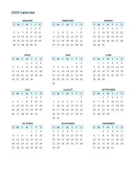 2020 Yearly Calendar Printable Full Usage Calendar Shelter