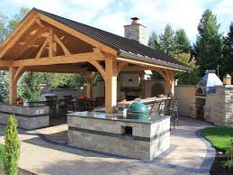 rustic outdoor bar and kitchen