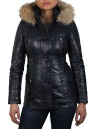 las women s leather biker er jacket with real fur and detachable hood navy blue us 8
