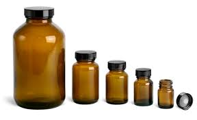 amber glass bottles pharmaceutical round bottles w lined black phenolic caps