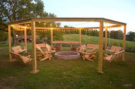 outside swing chair. DIY Pergola And Fire Pit With Swings Outside Swing Chair